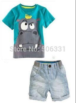 hot selling summer Boys Hippo clothing set Boy Casual Clothing Sets Kids Apparel Child T-shirt+ Short Pant