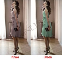 2013 New Fashion Korea Women's Elegance Bow Pleated Vest Chiffon Dress Round Collar Sleeveless Dress Free Shipping B16 10259