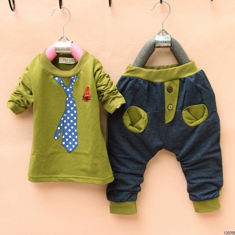 Free Shipping 2013 New Arrival Children Clothing, Boys' Fashional Tie Print Cotton Clothing Sets, Casual Kids Sets, TTT057(China (Mainland))