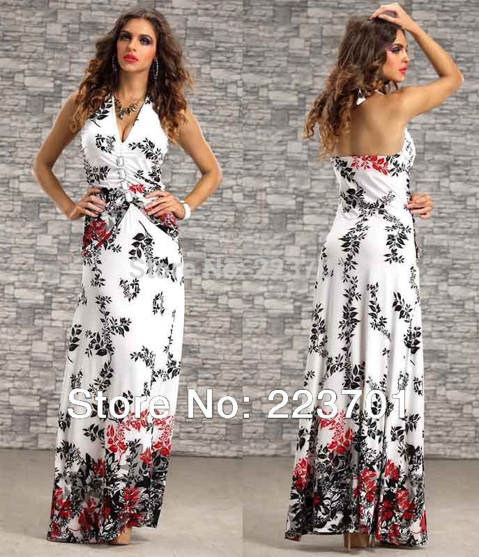 9 colors new arrive fashion summer beach dress for women high waisted halter ladies Long maxi dress(China (Mainland))