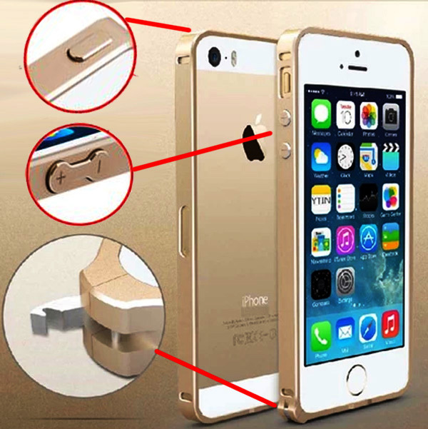 5S No screw 100% Original Aluminum Bumper Case Cover for iPhone 5s 5 Metal Frame Phone bags cases + Free screen protector(China (Mainland))