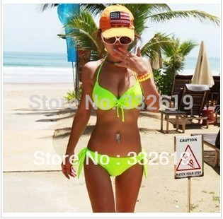 2013 New Hot Sexy dazzling neon color small steel push up bikini swimwear women / brand beach swimsuit plus size vintage