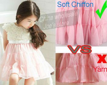 2014 New Summer girls dress retail baby Chiffon Flowers tutu princess dress  2-8 years kids dress hot sale children dress C082