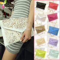 2014 vintage national women's trend handbag cutout envelope bag day clutch bag shoulder bag cross-body bag PU leather