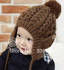 1-PC Free Shipping 6 colors New Arrival Children Knitted Hats Winter Kids Hat with villi inner Baby Earflap Cap(China (Mainland))