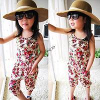 4pcs/lot Girls Toddler 2-8Y Children Jumpsuit Short Playsuit Summer Floral Soft Clothing One-piece B2 16339