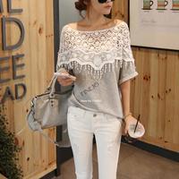 Sweet Lace Hollow Out T-Shirt Women Handmade Crochet Cape Collar Short Batwing Sleeve B26 19221