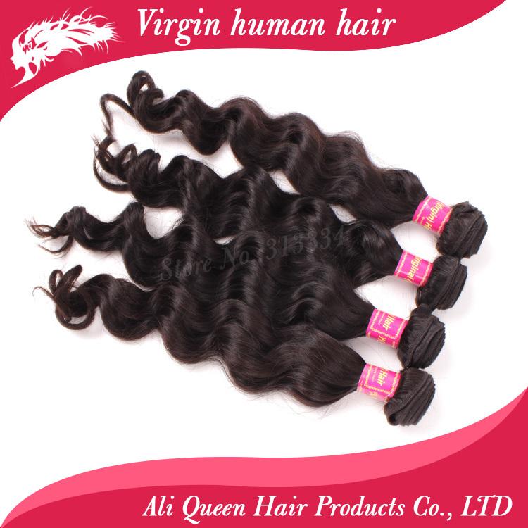 Guangzhou ali queen hair 4pcs/lot brazilian wave virgin hair natural black hair free shipping human hair weave(China (Mainland))