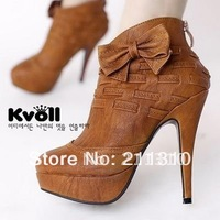 free shipping Kvoll ladies fashion high heels bow detail Platform zip ankle boots X3848 Wholesale and retail shoes