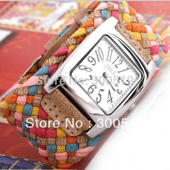 JW003 New 7 Colors Promotion Fashion Korea Rope Watch Braided PU Leather Cord Bracelet Watch Lady Watch(China (Mainland))