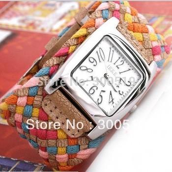 Jw003 новые 7 цветов продвижение мода корея веревка часы плетеный PU кожаный шнур браслет часы леди часы