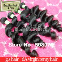 Brazilian virgin hair extensions Loose Wave 6A Virgin human Hair weave natural black 3pcs lot better quality hair product