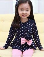 Children's Clothing Set size 100-140 fashion lovely round dot design 1 sets/lot kid dress , girl wear wholesale,hot