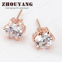 ITALINA RA Six Claws 5mm 0.5ct Stellux CZ Diamond 18K Real Gold Plated Stud Earrings Jewelry Crystal  Wholesale ZYE036