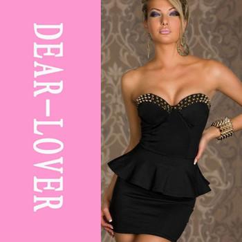 XL 2014 Women Summer Wrapped Chest Off Shoulder Mini Peplum Dress  LC2660  Rivets Punk Sexy Girl Evening Office Dresses vestidos