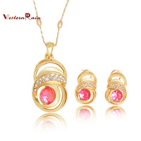 Free Shipping Hot selling Rose Gold Plated Green&Pink&Blue Rhinestone Pendant Necklace Fashion  Women Costume Jewelry Sets, A502