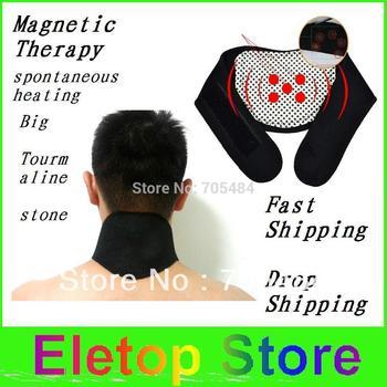 Freeshipping 2pcs Magnetic Therapy Neck cervical vertebra Protection Spontaneous Heating tourmaline Headache Belt Neck Massager