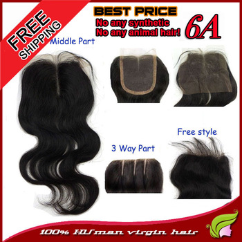Peruvian lace closure unprocessed virgin remy hair body wave bleached knots middle,3 way,invisible parting 3 choice 6A quality