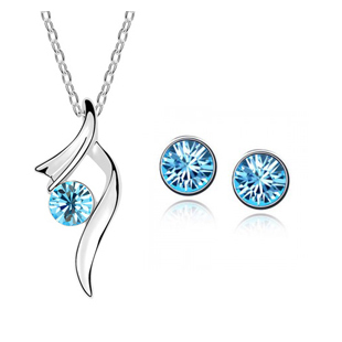 2014 Hot Sale Fashion Silver Plated Crystal Pendants Necklace/Earrings Wedding Accessories Jewelry Sets For Women(China (Mainland))