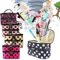 2014 New Hanging Toiletry Travel Wash Organizer Kit Case Cosmetic Makeup Dot Zip Bag SV000170 #003