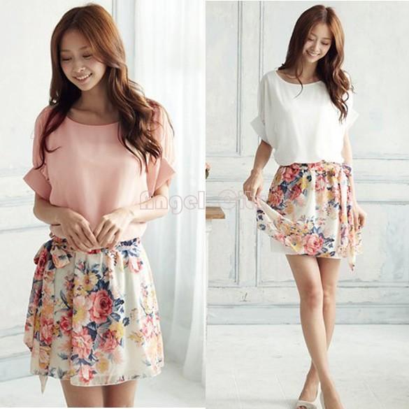 S-XXL,2014 New Hot Sale Women Dress for Summer wear Sweet Casual Short Sleeve Batwing Floral Chiffon Mini Dress,white/pink 14510(China (Mainland))