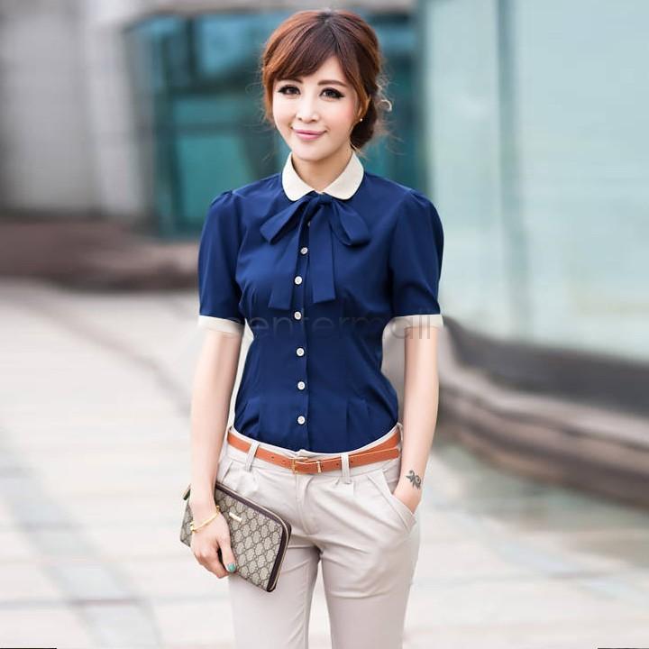 Preto / azul marinho mulheres OL carreira de abertura de cama de algodão Collar botão de camisa de manga curta blusa SV002191 #008(China (Mainland))