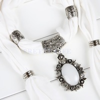 white opal flower pendant scarf rhinestone charm Jewelry scarves necklace pattern scarf B19 SV005447