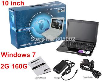 10 inch Windows 7 Laptops Intel D2500 Dual Core netbook laptop 2G 160G Mini laptop computer webcam wifi