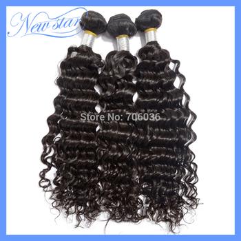 6a grade new star virgin brazilian hair steamed deep wave curll weaving 3 bundles mixed lot natural dark brown DHL free shipping