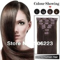"16"" 18"" 20"" 24"" 26"" 100% human remy Clip in hair extensions  #2 dark brown  70g 7pcs (#2 #24 #60 optional)"