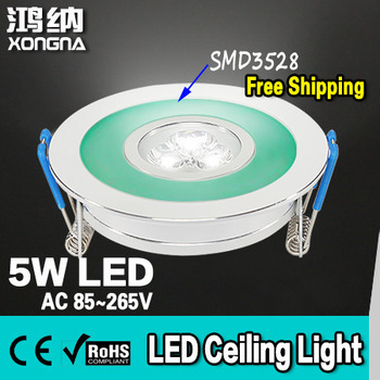 Free Shipping 5W Recessed LED Ceiling Lights with SMD3528 Emitting Frame (Red/Green/Blue/Yellow Etc.), Warm White/Cold White