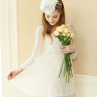 New Dresses 2014 Autumn Chiffon Dress Women Polka Dot Lace Embroidery Long Sleeve Beige Casual Dresses  2-832