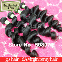 Brazilian Virgin Hair Weave Loose Wave 6A grade Human Hair extension natural black 3pcs lot top quality GS HAIR