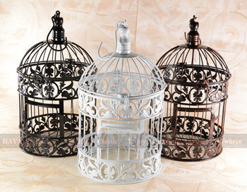Classic White Decorative Bird Cage for Wedding Metal Caged Bird
