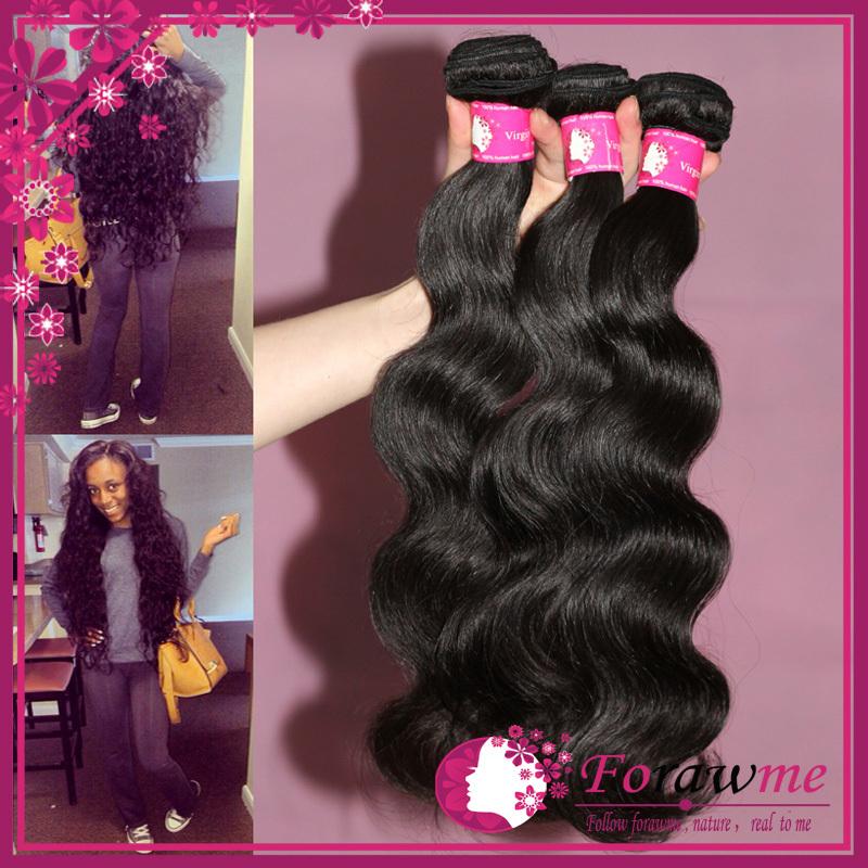 wholesale price virgin brazilian body wave human hair weaves , 3 4 Bundles 5A brazilian virgin hair , unprocessed remy hair weft(China (Mainland))