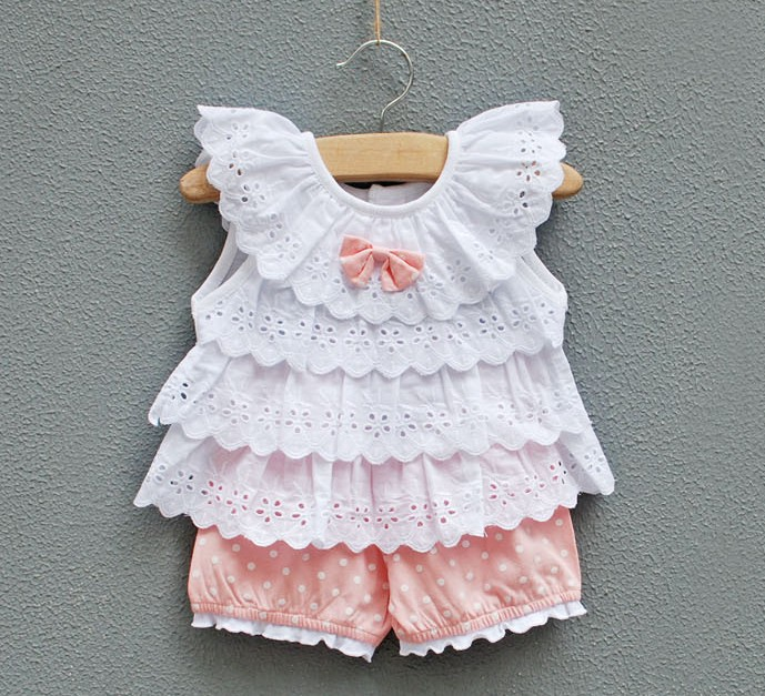 infant clothing Female baby clothes children's clothing 0-24months princess suits summer set lovely baby girls set vest+shorts(China (Mainland))