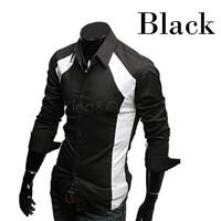 2014 New Men's Casual Luxury Stylish Slim Cotton Long Sleeve Dress Shirts Black/White M/L/XL dropshipping 3403