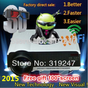 Newest Brirghtest 5000lumens Android 4.2 Native Full HD Led Digital Smart 3D Home Theater Projector Free Gift 100'' Screen(China (Mainland))