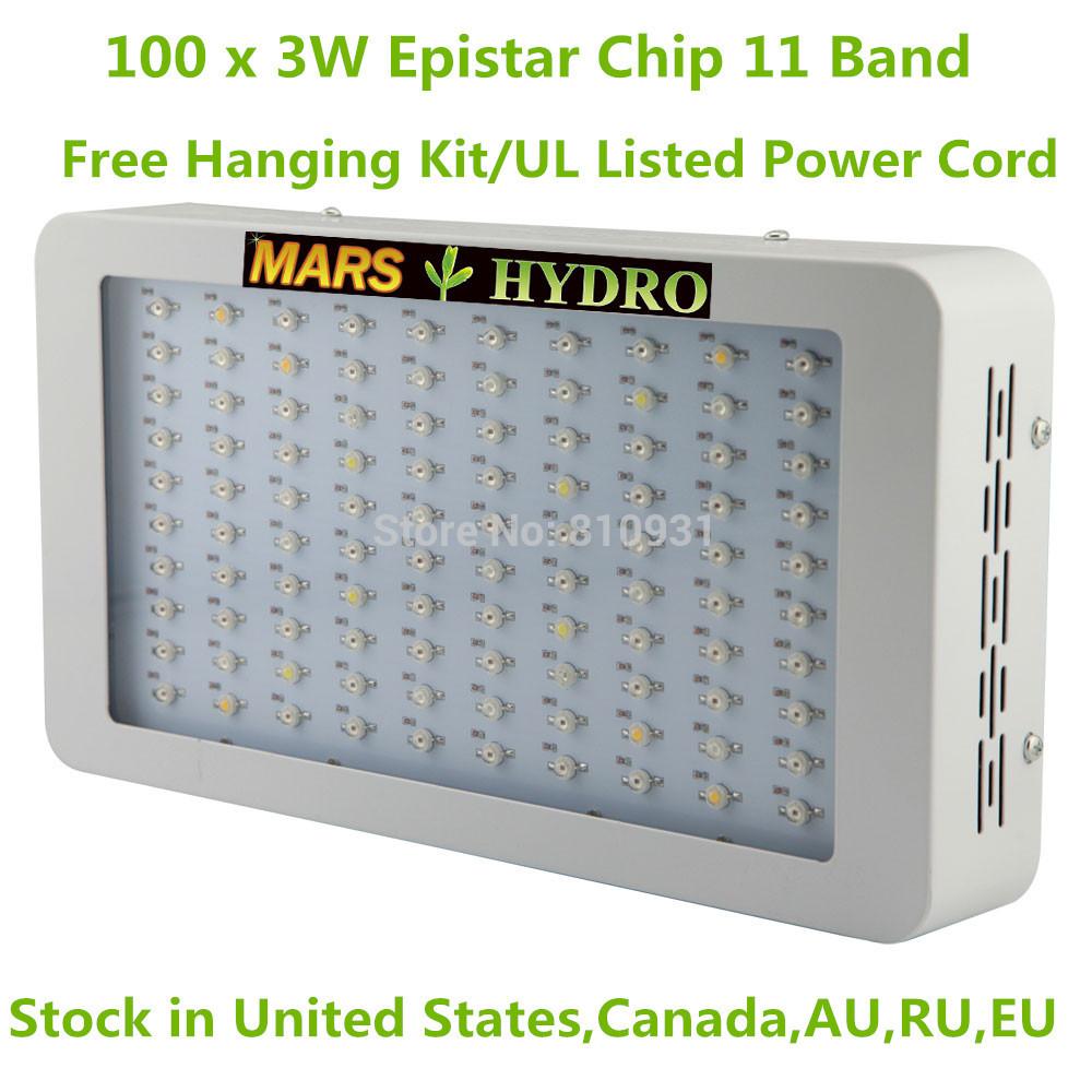 Top qualité 300w led élèvent la lumière à spectre complet 100 x 3w puce led élèvent la lumière suspension libre kit( ca en stock, usa, uk, ru, au)