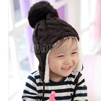 5 colors Baby Stripe Plus Velvet Children Ear CapS Children Knitted Hats Winter Kids Hat Wool Cap Baby Earflap Cap 18006  31