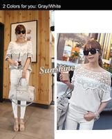 2014 Sweet Lace Cutout Shirt Women Handmade Crochet Cape Collar Batwing Sleeve Blouse Medium-Long T Shirt Female B26 19221