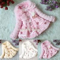 Baby Toddler Faux Fur Coat Junoesque Kids Fleece Lined Coat Girls WinterWarm Jacket Snowsuit B16 18908