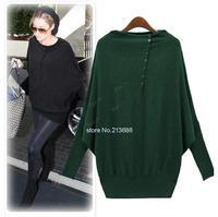 New 2014 Women Sweater Europe Ladies Batwing Long Sleeve Loose Long Sweater Pullover Black/Green Plus Size M-XL b7 SV006414