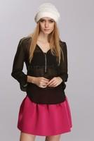 2014 women blouse casual work wear new fashion sexy women v neck zipper long sleeved chiffon blouse shirt tops sv18 cb030985
