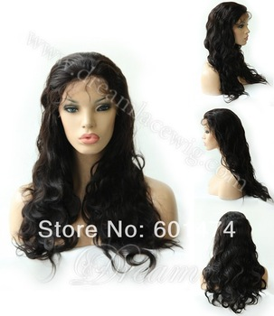 2014 biggest discount!Free Shipping!Queen hair products brazilian human hair full lace wigs straight and body wave,color 1b