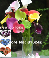 18COLORS!! Natural Real Touch Flowers Picasso Purple White Calla Lily Bridal bouquets Wedding Centerpieces Decorative Flowers