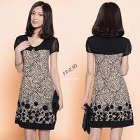 New 2014 Fashion Womens Summer Splice Suit Pattern Slim Short sleeve Loose Dress plus sizes 19511*
