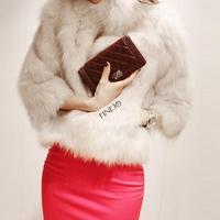 2014 New Short Design Female Faux Fur Jacket Outerwear For Women Plus Size Faux Fur Coat Black White M-XXL #6 SV005837