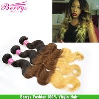 Berrys hair products three color hair Peruvian virgin hair body wave human Hair extension 3pcs/lot 100g/pcs No Tangle & Shedding