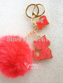 Free shipping fashion car keychain handbag charm pendant rabbit pompom fur ball cat key ring holder novelty kawaii gift